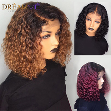 1B/99J Burgundy Red Ombre Short Human Hair Wigs Pre Plucked Curly Blonde Lace Front Bob Wig Deep Part 13X6 Brazilian Remy Wig