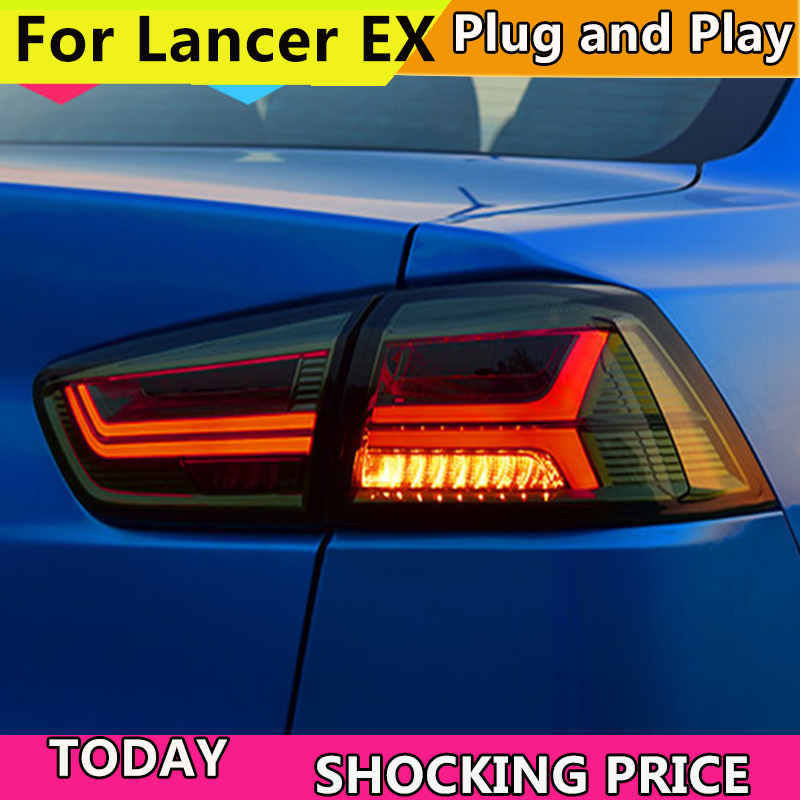 Taillights for Mitsubishi Lancer Ex Taillight of Audi A6 style lancer Taillamp With Led Moving Signal light Rearlight 2007-2018 2007 2017 lancer auto fold side mirror 7 wires with lamp for mitsubishi lancer rear mirror with turning signal lamp no painting