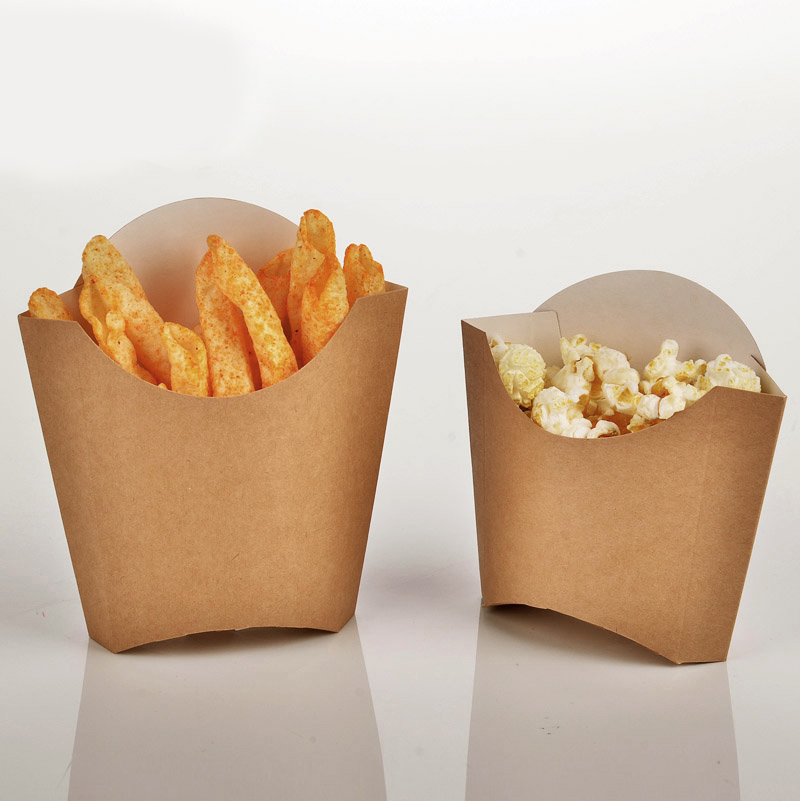 Fashion Kraft Paper French Fries Cup Disposable Fried Chicken Wings Popcorn Box Cup Party Dessert Container 100pcs/lot SK727