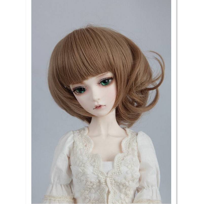 New Style 1/3 1/4 1/6 BJD Doll Wigs Accessories for Dolls,Brown Color Short Curly Wig Doll Hair Good Quality  new style doll accessories round shaped glasses sunglasses suitable for 1 3 bjd dolls mini doll glasses for dolls good quality