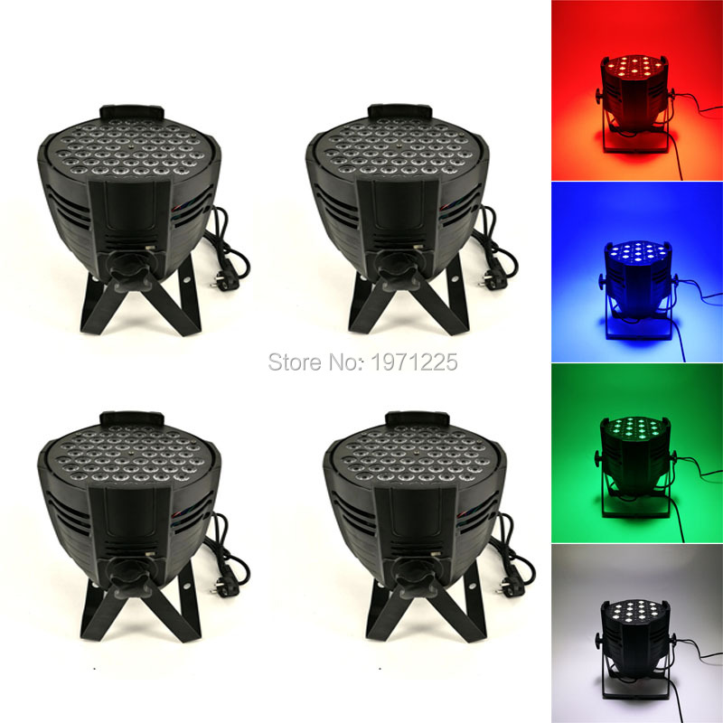 (4pcs) Good Quality Quad 54x3W RGBW Led Par Can Light DMX Stage Lights DMX LED Par Light LED Lamp KTV Disco DJ Lamp 2pcs dj disco par led 54x3w stage light dmx strobe flat luces discoteca party lights laser rgbw luz de projector lumiere control