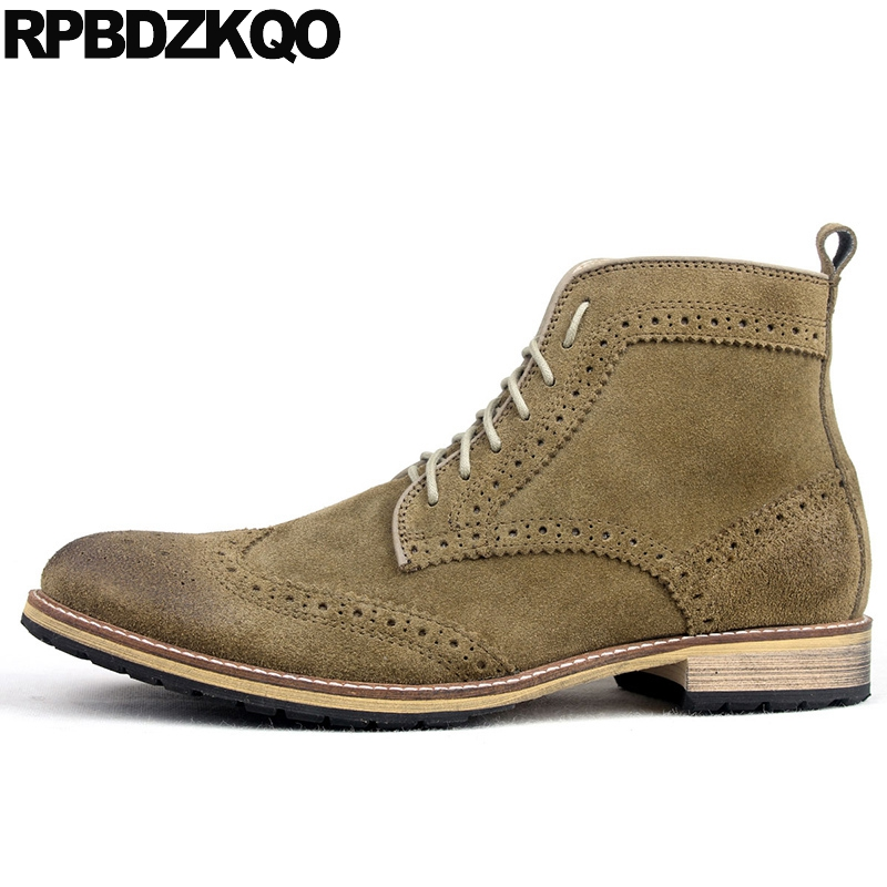 Lace Up 2017 Military Green Ankle Designer Shoes Men High Quality Suede Short Booties Luxury Fall Real Leather Wingtip Combat