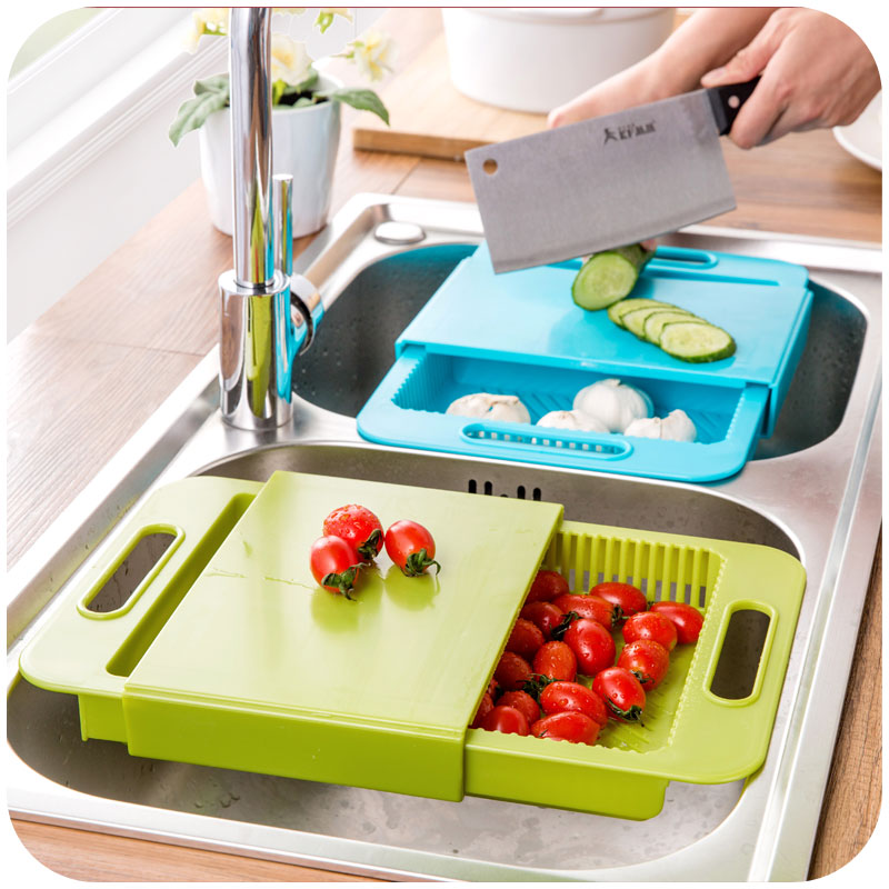 Korean kitchen sink cutting board, plastic drain basket vegetables cut with one washing sink rack plastic
