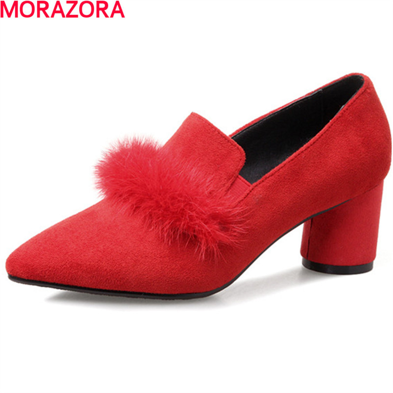MORAZORA party fashion simple shoes women shallow pointed toe high heels Cow suede pumps single shoes spring autumnMORAZORA party fashion simple shoes women shallow pointed toe high heels Cow suede pumps single shoes spring autumn