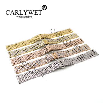 CARLYWET 18 19 20 22mm Stainless Steel Replacement Wrist Watch Band Bracelet Strap For Longines Omega Tag Heuer Rolex Breguet image