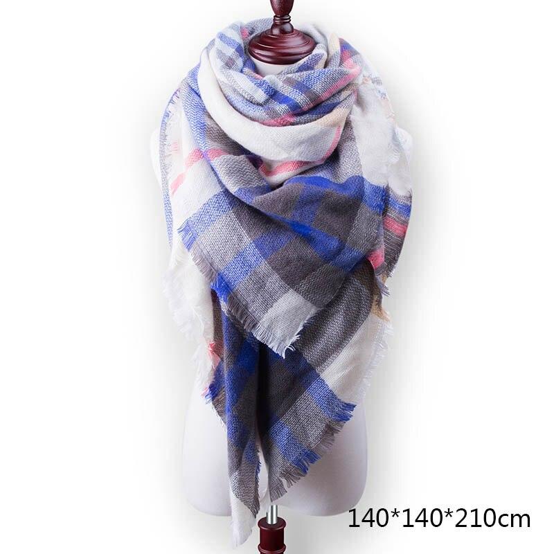 Горячая Распродажа, Модный зимний шарф, Женские повседневные шарфы, Дамское Клетчатое одеяло, кашемировый треугольный шарф,, Прямая поставка - Цвет: A17