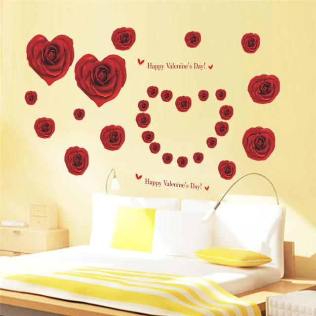 red rose flower wall decals home decorative stickers wedding party
