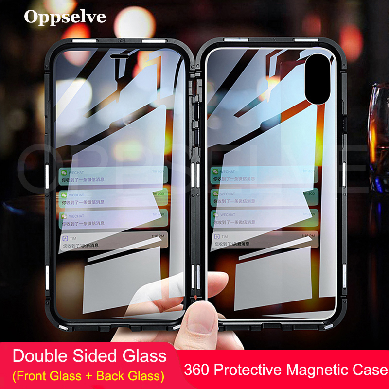 Oppselve Luxury Double Sided Glass Metal Magnetic Case For iPhone Xs Max Xr X 10 8 7 Plus Magnet Cover 360 Protection Capinhas smartphone