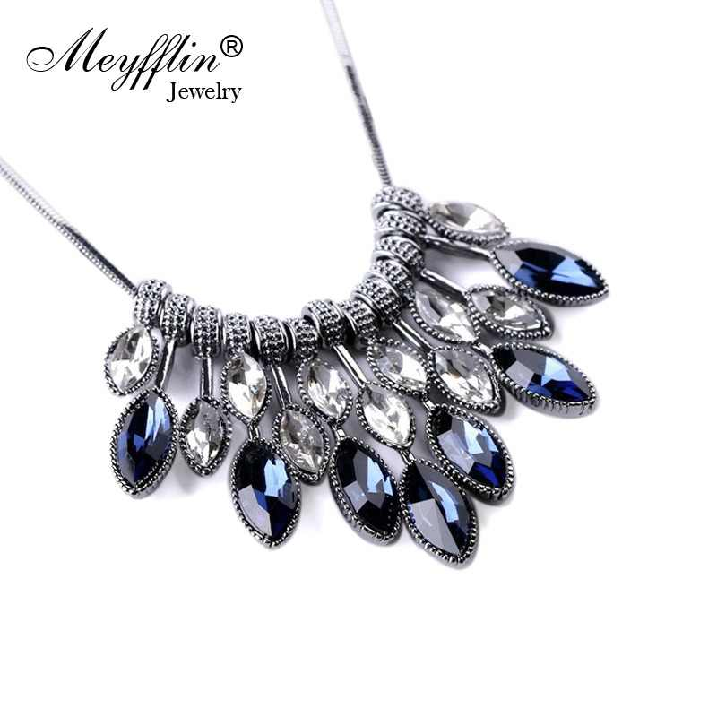 a69d9a6a54b2 Meyfflin Collier Femme 2018 collares de declaración y colgantes de cristal  Maxi Collar para mujer Collar