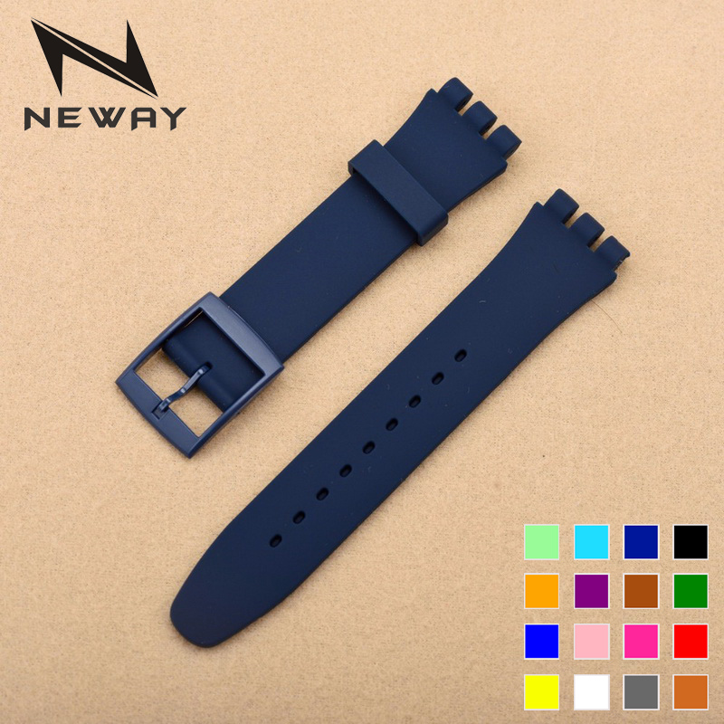 neway 17mm 19mm Silicone Watch Band Straps Watch accessories For Men Women Watches Swatch Rubber Strap plastic buckle 13 colors eache silicone watch band strap replacement watch band can fit for swatch 17mm 19mm men women