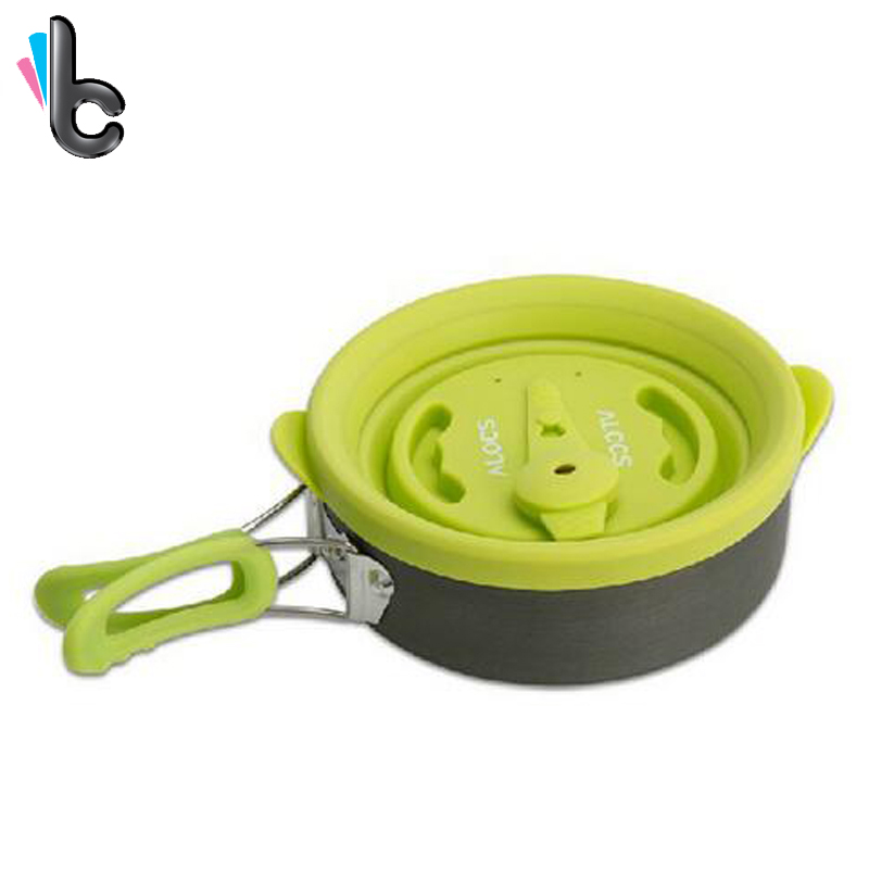 Camping Silicone Cookware Multi functional Outdoor Pannenset Camping Picnic Silicone Cover Pan Frying Pan Cookware 4
