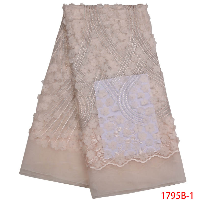New African Lace Fabric High Quality Indian Embroidery For Wedding Party Nigerian 5 yards / piece Lace Tulle Fabric APW1795B-1New African Lace Fabric High Quality Indian Embroidery For Wedding Party Nigerian 5 yards / piece Lace Tulle Fabric APW1795B-1