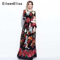 Модные подиумные платья 2018 Для женщин Винтаж трапециевидной формы с длинными рукавами платье Длинные вечерние Повседневное