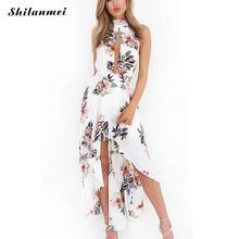2018 летнее платье Макси Для женщин Цветочный принт платье водолазка без рукавов короткое спереди и длинное сзади спинки с плеча сексуальное платье