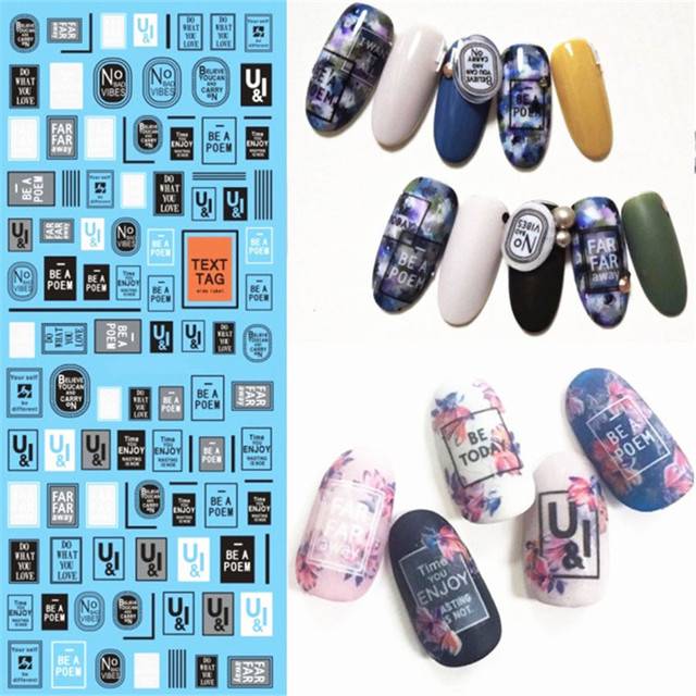 1 Sheet Geometric patterns English Nail Art Stickers Water Decals ...
