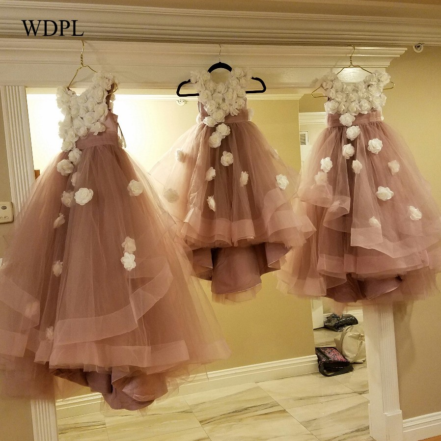 Handmade Flowers Long Flower Girls Dresses Lovely Girl Pageant Kids Cocktail Dress Vestidos De Comunion Dusty Pink Party Gown
