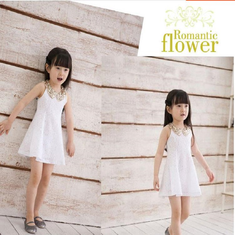 NICBUY 198p58 Girl's Summer princess dress The children's wear of children's lace and the new dress white black