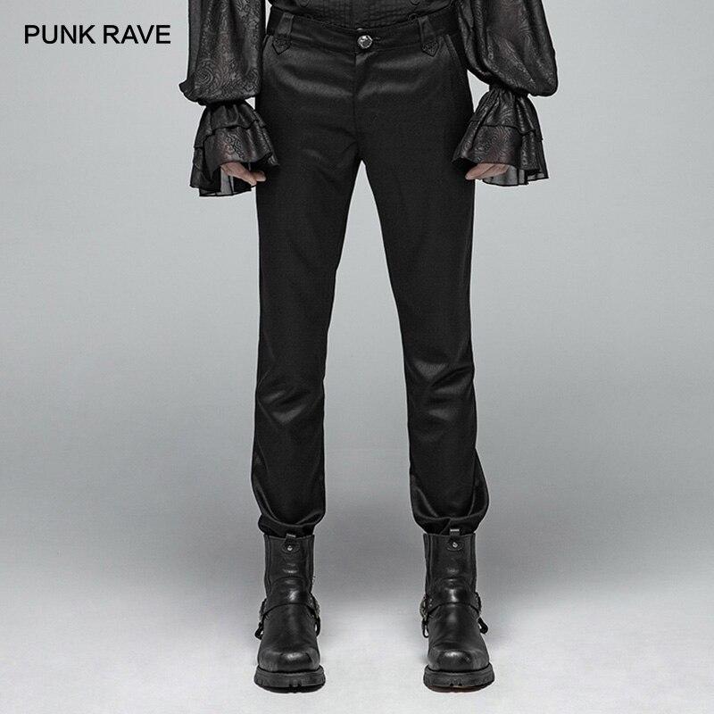 PUNK RAVE hommes noir gothique formel Simple Non extensible pantalon fête Club Performance broderie pantalon hommes Punk Streetwear-in Maigre Pantalon from Vêtements homme    1