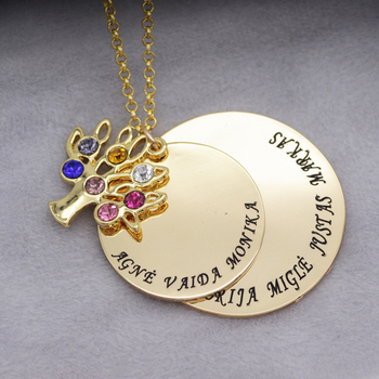 Personalized Family Tree Pendant Necklace with Birthstones New Arrival 5