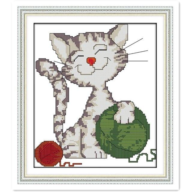 El gato que juega la bola de hilo decoración de la Cruz puntada ...