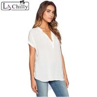 Cheap Fashion 7 Colors OL White V Neck Short Sleeve Oversize Chiffon Blouse LC25789 New Summer