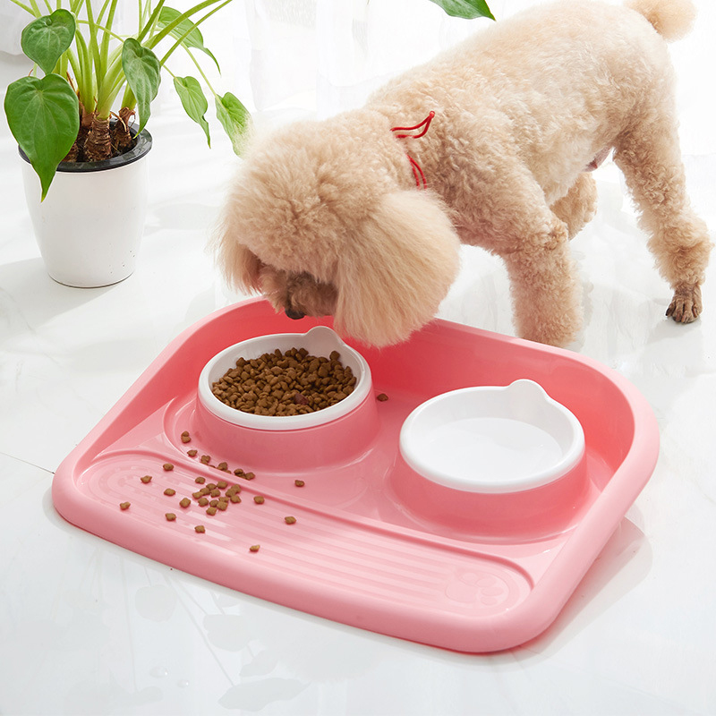 Multi-functional Dog Feeder Drinking Bowls Dogs Cats Pet Food Bowl High Quality Pets Dish Plates Tray Accessories Supplies Stuff
