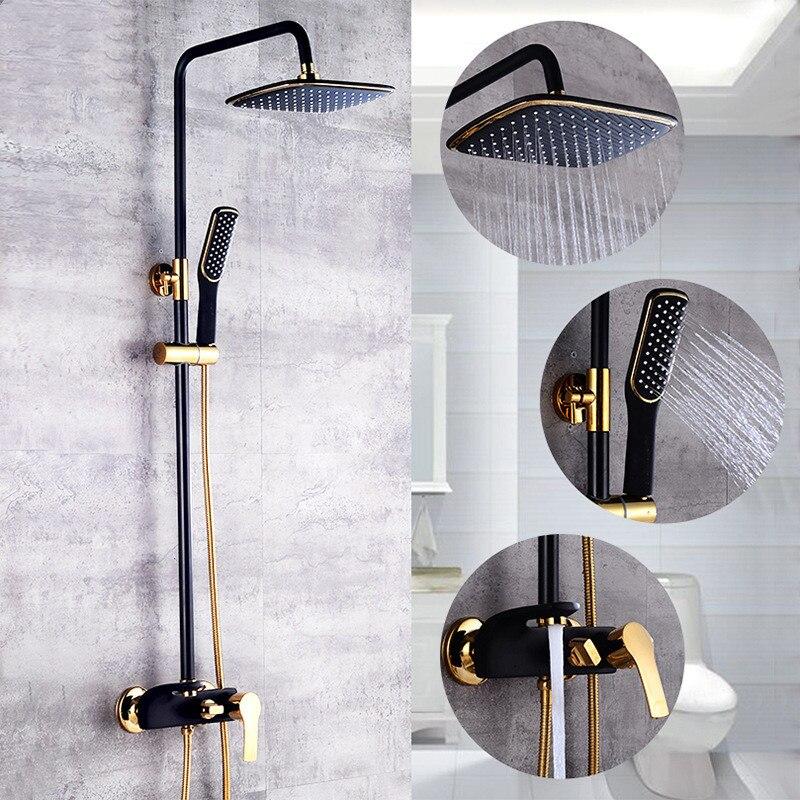 Ensemble de douche salle de bain cascade haute pression peinture blanche plaqué or filtre de bain rinçage accessoires de bain duchas douche chuveiro - 6
