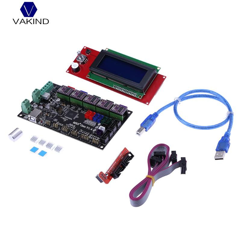 3D Printer Kit with MKS Gen V1.4 Control Board Main Board+ 2004LCD+5pcs 8825 Driver for 3D Printing flsun 3d printer big pulley kossel 3d printer with one roll filament sd card fast shipping