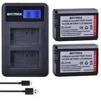 2Pcs 2000mAh NP FW50 NPFW50 NP FW50 Batteries LCD USB Dual Charger 2 Port Plug For