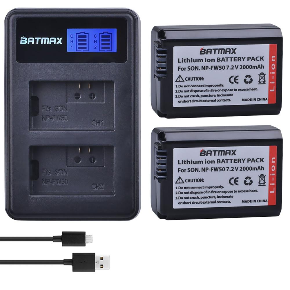 2Pcs 2000mAh NP FW50 NP FW50 Camera Battery + LCD USB Dual Charger for Sony Alpha a6500 a6300 a6000 a5000 a3000 NEX 3 a7R|np fw50|camera battery|fw50 usb charger - title=