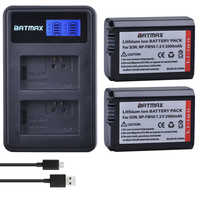 2Pcs 2000mAh NP-FW50 NP FW50 Camera Battery + LCD USB Dual Charger for Sony Alpha a6500 a6300 a6000 a5000 a3000 NEX-3 a7R