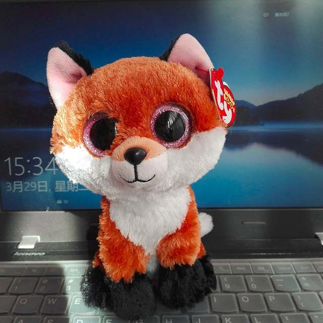 placeholder Wholesale 10PCs 15CM BIG EYE Slick Fox TY BEANIE BOOS brown fox Plush  Toys Stuffed animals ba974bc23697