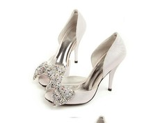 Popular women Shoes Silver Rhinestone Wedding Bridal Dress Shoes Genuine Leather Crystal Sandals Womens Sexy Platform