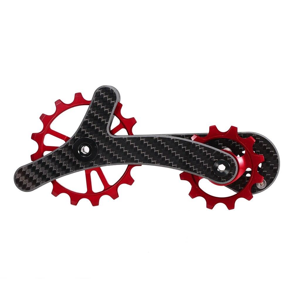 Vélo dérailleur poulie vélo arrière Jockey jeu de roues 16 T + 12 T céramique roulement Guide rouleau tendeur léger en Fiber de carbone