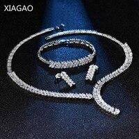 XIAGAO Decoraties voor Vrouwen Dubai Sieraden Sets Ketting Oorbellen Armbanden Vrouwen Zilver Kleur Leaf Steentjes Kristallen Bruiloft