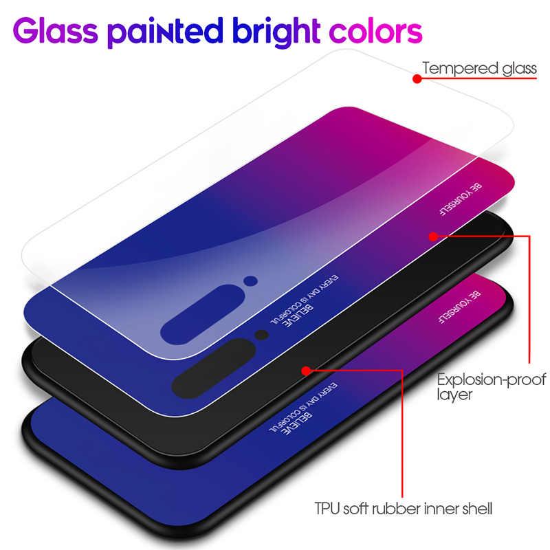 Glossy GradientสำหรับXiaomi A2 A1 Mix 2S Max 3 F1 กระจกนิรภัยสำหรับXiaomi Mi 9 SE 8 Lite 9T Pro 6 ปกหลังที่มีสีสัน