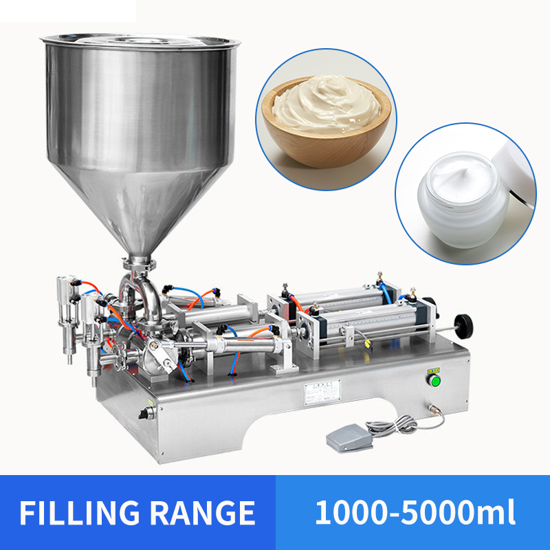 YTK 1000~5000ml Horizontal Double Heads Cream Shampoo Filling Machine Cosmetic Paste Filling Machine 950*420*380mm