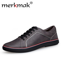 Merkmak Handmade 100 Genuine Leather Men Casual Shoes Big Size Leisure Flat Shoes Luxury Brand Mens