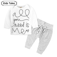 2017 Summer Baby Boy Clothes Fashion Cotton Girl Casual Clothing Set With Long Sleeves Letter T