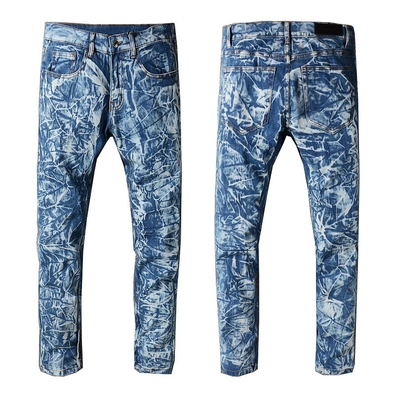 New Italy Style #217# Mens Stretch Pants Oiled Zippers Washed Denim Blue Jeans Slim Trousers Size 29-42