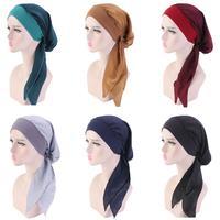 12PCS Muslim Woman Inner Hijabs Hats Turban Head Cap Hat Beanie Ladies Hair Accessories Muslim Scarf Cap Hair Loss Random Color