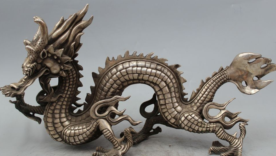 10 Old Chinese Folk Silver Lucky Zodiac Year Dragon Sucessful Statue Sculpture10 Old Chinese Folk Silver Lucky Zodiac Year Dragon Sucessful Statue Sculpture