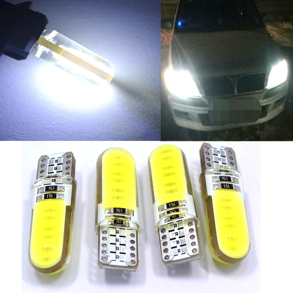 T10 W5W White Car Led Interior Silicone Waterproof Cob Marker Lamp DC 12V 194 501 Bulb Wedge Parking Dome Light Auto Car Styling