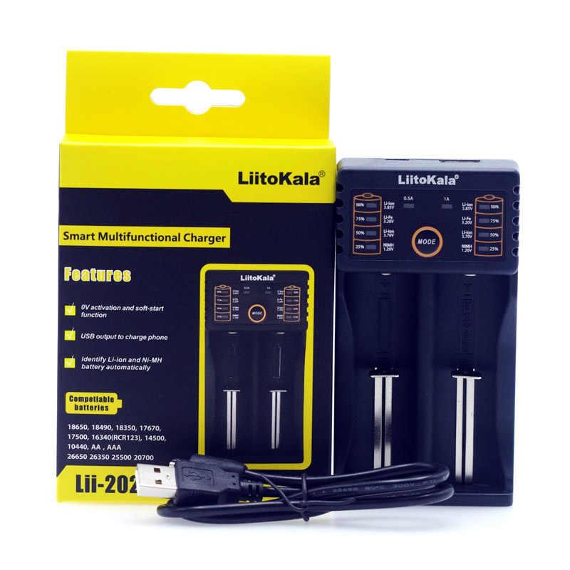 Liitokala Lii-202 شاحن بطارية ، شحن 18650 1.2 فولت 3.7 فولت 3.2 فولت AA/AAA 26650 10440 14500 16340 25500 نيمه بطارية ليثيوم