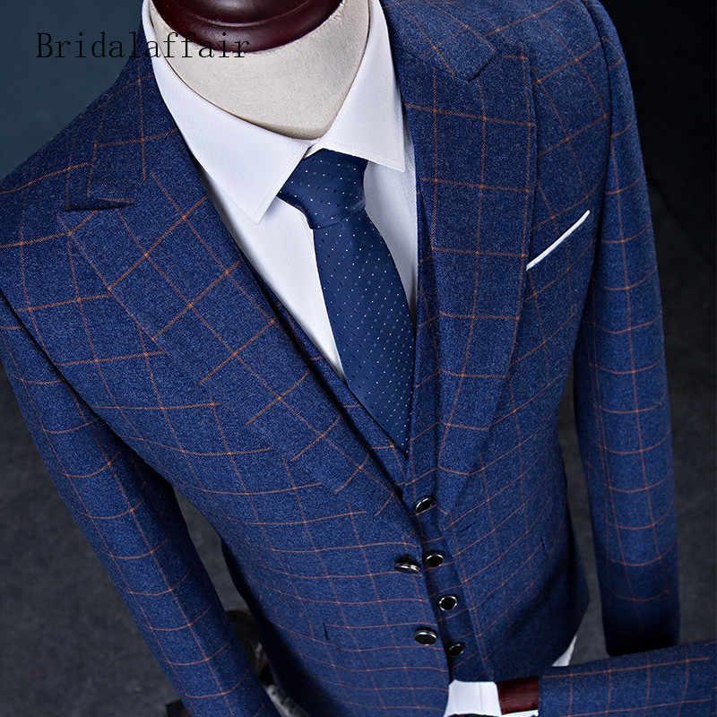 Bridalaffair 2018最新のイングランドスタイルの男性スーツ(ジャケット+パンツ+ベスト) 3ピース高品質格子ブレザー結婚式のスーツスリムタキシード