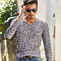 2016 Spring Autumn Winter Men Tops Fashion V Neck Slim Fit Long Sleeve T Shirt Men