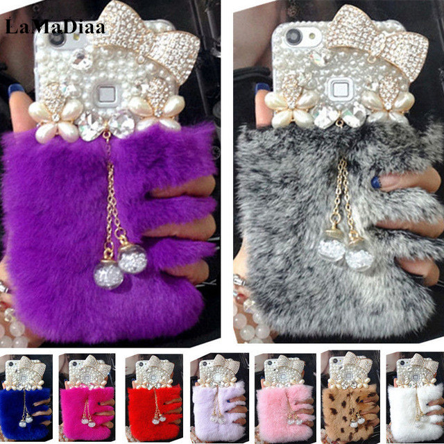 Luxury Gem Bling Fox Rabbit Plush Fur Pearl Bowknot Back Cover Case For Samsung S10 S20 S9 S8 Plus Note 10 9 8 Tassel Pendant|Half-wrapped Cases|Cellphones & Telecommunications - title=