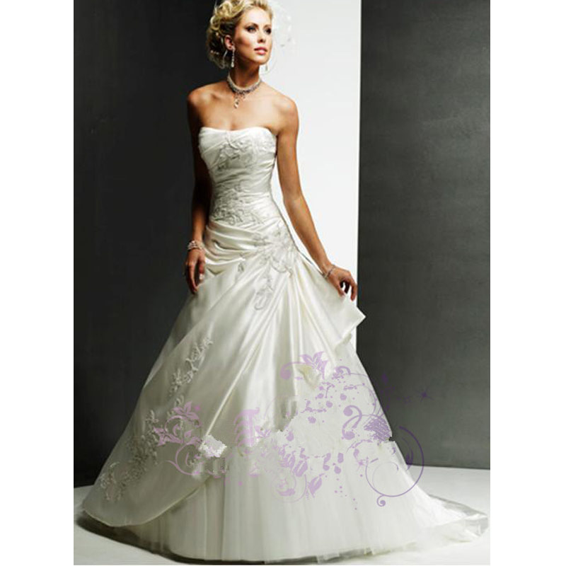 2016 cheap wedding dress white satin embroidery bridal for White wedding dress cheap