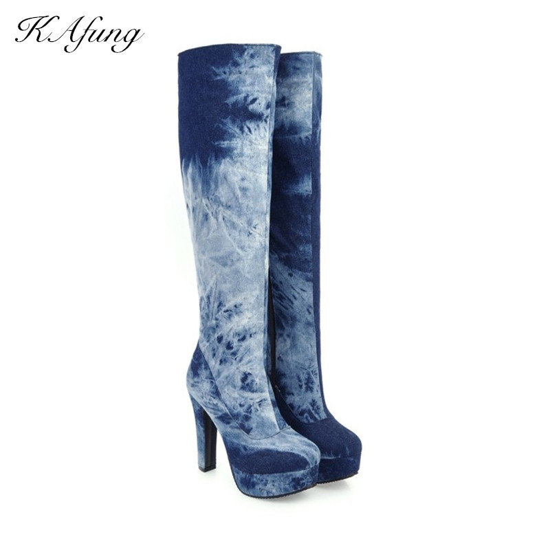 The winter edition of the new boots Cowboy boots on the street High heels and waterproof platform boots Women's boots zipper the situation of street walking prostitutes