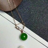 SHILOVEM 18k rose gold Natural green Jasper pendants no necklace classic fine Jewelry women wedding gift 8*8mm mymz080809by